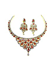 Poddar Jewels Cubic Zirconia Red Necklace Set