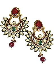 Surat Diamonds Traditional Polki, Red & Green Stone & Gold Plated Indian Motif Chandbali Earrings For Women (PSE57)