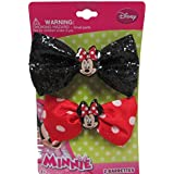 Disney Minnie Mouse Dress Up Time Stuffed Bow Barrettes -Black Red