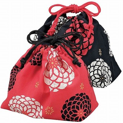 Bento Bag Japanese Modern Hyakka Print (Red)