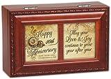 Cottage Garden Happy 40Th Anniversary Woodgrain Petite Music Box / Jewelry Box Plays Amazing Grace
