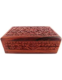 Wooden Jewellery Box With Carving - B06XPJ9GLN