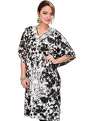 Exotic India Black And White Batik-Dyed Kashmiri Short Kaftan With Ari E - White