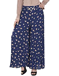 SVT ADA COLLECTIONS Navy Blue Printed Palazzo Pant(035907_Navy _FS)