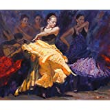 Vitalwalls A Couple With Guitar Dancing Flamenco Oil Painting (Western-110-45, Canvas Print, 45 Cm X 37.1 Cm)