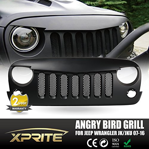 Xprite Front Matte Black Angry Bird Grille Grid Grill W/ Mesh Insert for Jeep Wrangler Rubicon Sahara Sport Jk 2007-2016