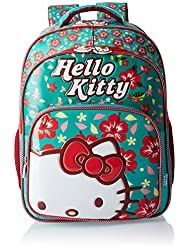 Hello Kitty Polyester 18 Inch Turquoise And Red Children's Backpack (MBE-HKP041)
