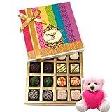 Chocholik Luxury Chocolates - Natural Collection Chocolates Of White And Dark Chocolate Box With Teddy