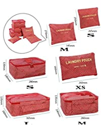 Styleys Set Of 6 Packing Cubes Clothes Organizer Bags (Red Star)