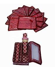 Wedding Special Combo, 12 Pcs Of Satin Bow Saree Cover, 2 Rod Bangle Box In Brocade - B0199CXGZK
