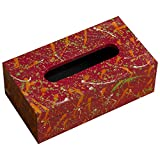 Royal Roots Wooden Hand Painted Tissue Box Holder (VR0015, 23.75 Cm X 16.25 Cm X 10 Cm)