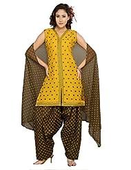 Ritu Creation Women's New Cotton Stitched Patyala Suit With Embroided Work And Block Print Dupatta&Patyala(Yellow)