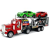 Ms Power Trailer Childrens Friction Powered Toy Truck W/ Trailer, 3 Toy Cars (Colors May Vary)