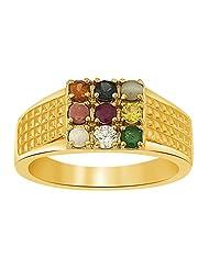 Ciemme 18 Kt Gold Plated Over 925 Sterling Silver Navratna CZ Ring For Men - B00Y876NHK