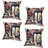 MeSleep Digital Print Gallery Of America 4 Piece Cushion Cover Set - Multicolor