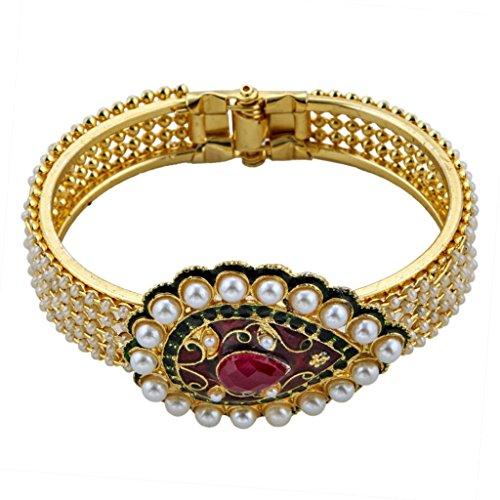 The Jewelbox Ruby Pearl Meenakari Gold Plated Openable Kada Bangle Bracelet