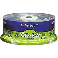 Verbatim CD-RW Discs 700MB 80min 4X Spindle Matte Silver 25 Pack