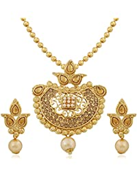 Apara Dangling Gold Plated Ball Chain Pendant Set With LCT Stones And Pearl Drop
