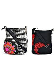 Combo Of Colourful Side Pocket With Metro Prints With Black Small Sling Bag.