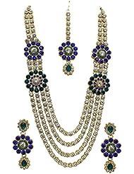 La Trendz Gold Alloy Necklace Set With Maang Tika