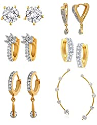 Zeneme Golden Alloy Earrings With Earcuffs Combo Jewellery For Women And Girls Set Of 6