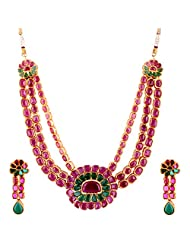TKD Jewellers Pink Color Traditional Wear Gold Plated Multi Uncut Ruby Chain Strand For Women (TKDJ055)