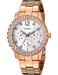 Guess Women's Rose Gold-Tone Multi-Function,Genuine Crystal Accented Case - W0335L3