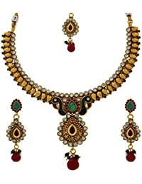 Abhijewels Gold Plated Peacock Inspired Traditional Necklace Set With Earrings And Maang Tikka For Women