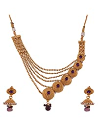 Ganapathy Gems 1 Gram Gold Plated Designer Necklace With Layered Chains And Purple Stones