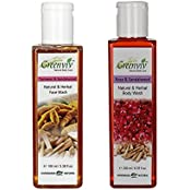 Greenviv Natural Combo Of Rose & SandalWood Body Wash (200 Ml) With Turmeric & Sandalwood Face Wash (100 Gm)