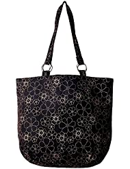 Bag Factory Women's Black Colour Jholi With Golden Flower