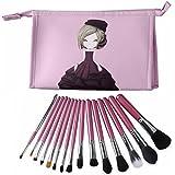 CLOTHOBEAUTY 15 Pcs Premium Synthetic Kabuki Makeup Brush Set Kit Foundation Blending Powder Blush Eyeliner Eyebrow...