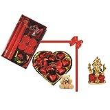 Skylofts 9pc Heart Shaped Chocolate Box With A Cute Teddy & A Beautiful Candle Diya Set , Ganeshji Idol Diwali...