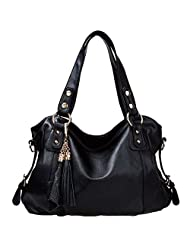 Win8Fong Fashion Leather Bag Cowhide Womens Tassel Shoulder Vintage Handbag BlackWin8Fong Fashion Le
