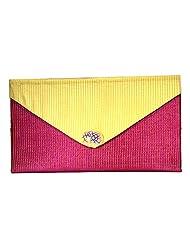 Arisha Kreation Co Women Hand Made Hand Bag Clutch (Pink & Cream)