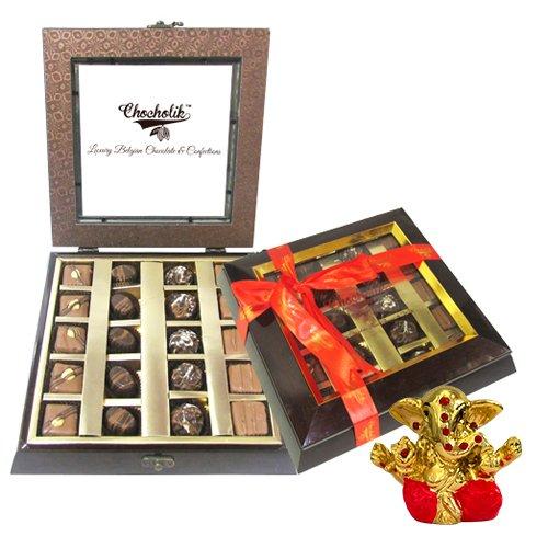 Chocholik Belgium Gifts - Assorted Chocolates With Beautiful Wooden Box With Small Ganesha Idol - Diwali Gifts