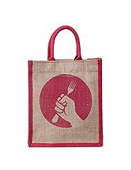 Honey & Bee Organic Jute Lunch-Bag,REVOLUTION Design,Red-Portrait