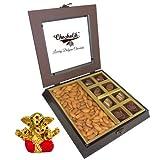 Chocholik Premium Gifts - Unique Combination Of Chocolates & Almonds With Small Ganesha Idol - Diwali Gifts