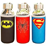 Satyam Kraft Super Heroes Glass Water Bottle With Cover - (300 Ml) - Pack Of 3