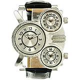 Oulm Three Time Display Quartz Mens Military Army Sport Wrist Watch White