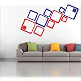 [ Myhome ] Red & Blue Square Mirror Acrylic Stickers (pack Of 12) Buy 1 And Get 2 Set Vinyl Sticker (20RING &DOT...