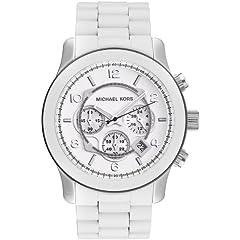 Michael Kors Mens MK8108 Oversize White Silicone Runway Watch