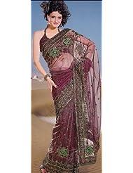 Exotic India Cordovan Net Sari With Parsi Embroidered Bootis And Bord - Cordovan