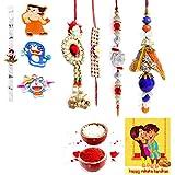 Gomati Ethnic Handmade Designer Exclusive 8 Pc Family Rakhi Set Rakhi Gifts For Brother Free Shipping+Roli+Chawal+Greeting Card !! 2Bb4Ks915