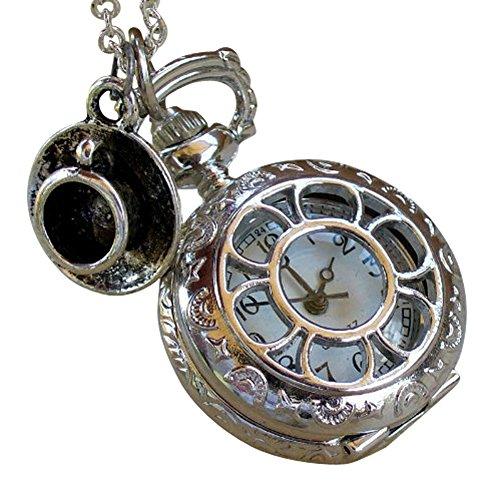 Alice in Wonderland Tea Party Steampunk Pocket Watch Necklace