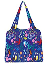 Snoogg Bird Floral Patterns Womens Jhola Shape Tote Bag