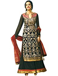 Exotic India Jet-Black Designer Palazzo Salwar Suit With Embroidery All- - Black