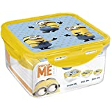 Minions Stor Square Food Containers Plastic Food Containers, 290ml, Blue/Yellow