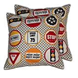 House This Bike-Road Signs Red Set Of 2 Cushion Covers- 16 X 16