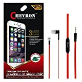 Chevron Ultra Clear HD Screen Guard Protector For Lenovo K4 Note With Chevron 3.5mm Red Stereo Earphones (With...